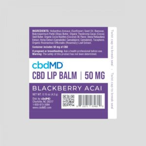 cbdMD CBD Lip Balm - Blackberry Acai 50mg Label