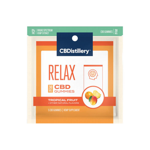 Cbdistillery Cbd Relax Gummies Tropical Fruit 30mg 5 Count Direct Cbd Online